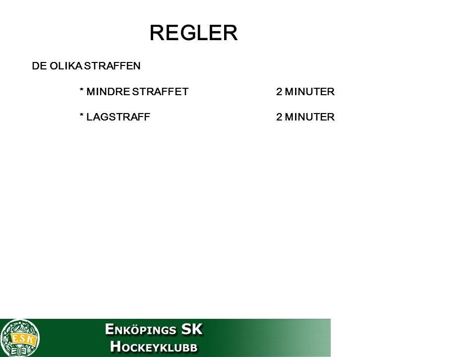 REGLER DE OLIKA STRAFFEN * MINDRE STRAFFET 2 MINUTER * LAGSTRAFF 2 MINUTER