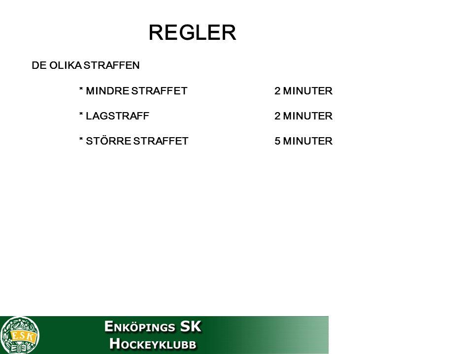 REGLER DE OLIKA STRAFFEN * MINDRE STRAFFET 2 MINUTER * LAGSTRAFF 2 MINUTER * STÖRRE STRAFFET 5 MINUTER