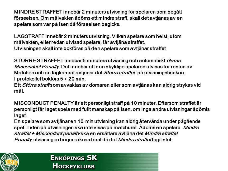 MINDRE STRAFFET innebär 2 minuters utvisning för spelaren som begått förseelsen.
