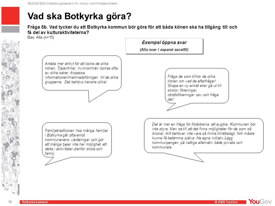 Botkyrka kommun © 2009 YouGov 12 SE2009-529-3 Medborgarpanel nr 5 – Kultur- och fritidsaktiviteter Vad ska Botkyrka göra.