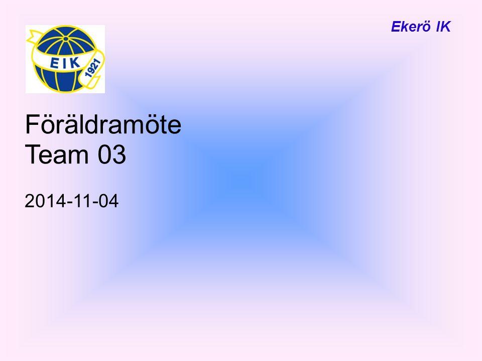 Ekerö IK Föräldramöte Team 03 2014-11-04