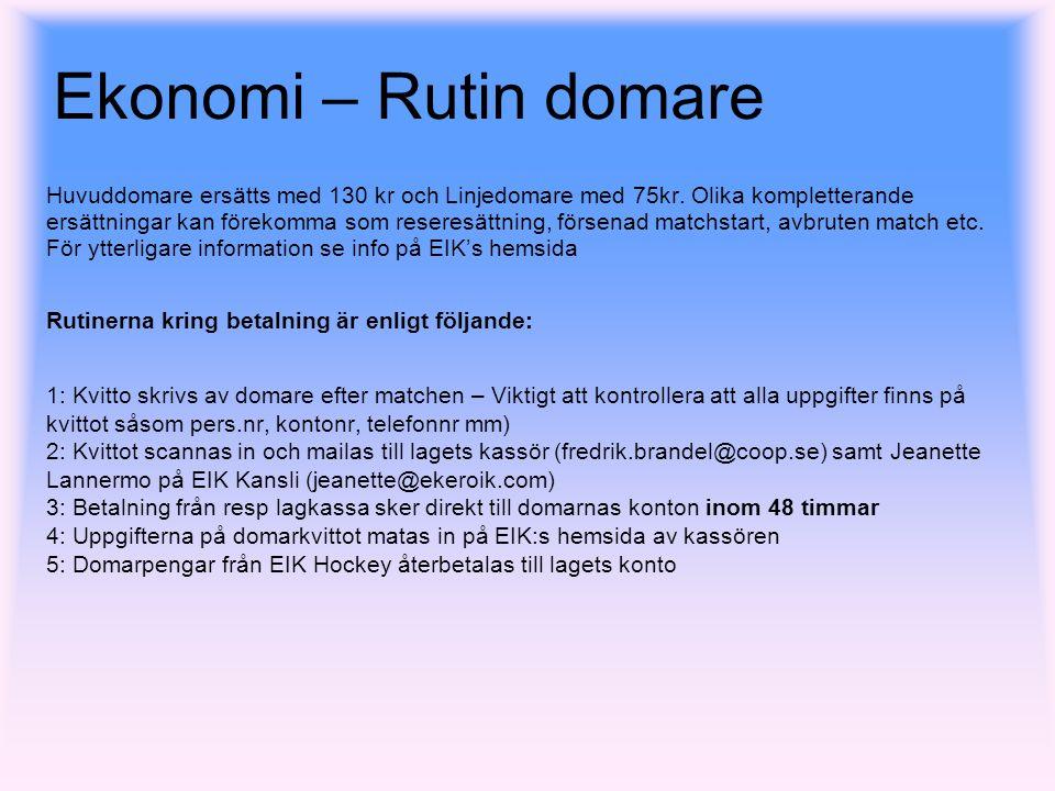 Ekonomi – Rutin domare Huvuddomare ersätts med 130 kr och Linjedomare med 75kr.