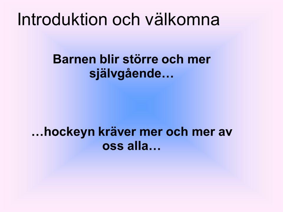 Introduktion och välkomna Barnen blir större och mer självgående… …hockeyn kräver mer och mer av oss alla…