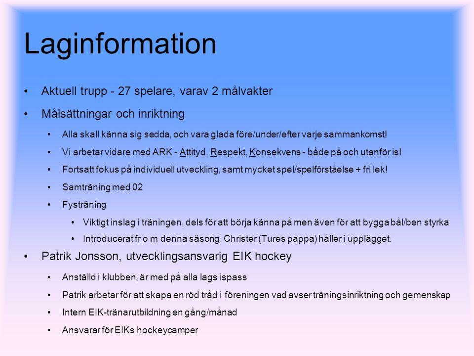 Agenda Laginformation Spelet Seriespel Cuper Avslutningsresa för säsongen Ekonomi Sponsring Övriga punkter Material LiveArena