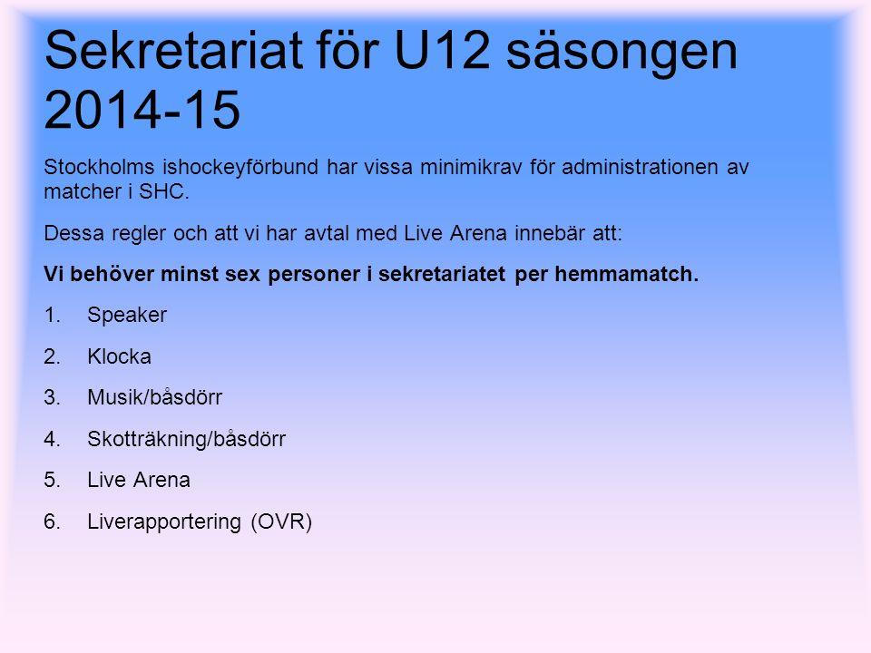 Sekretariat för U12 säsongen 2014-15 Stockholms ishockeyförbund har vissa minimikrav för administrationen av matcher i SHC.
