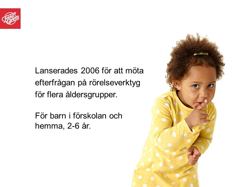 Lanserades 2006 för att möta efterfrågan på rörelseverktyg för flera åldersgrupper. För barn i förskolan och hemma, 2-6 år.