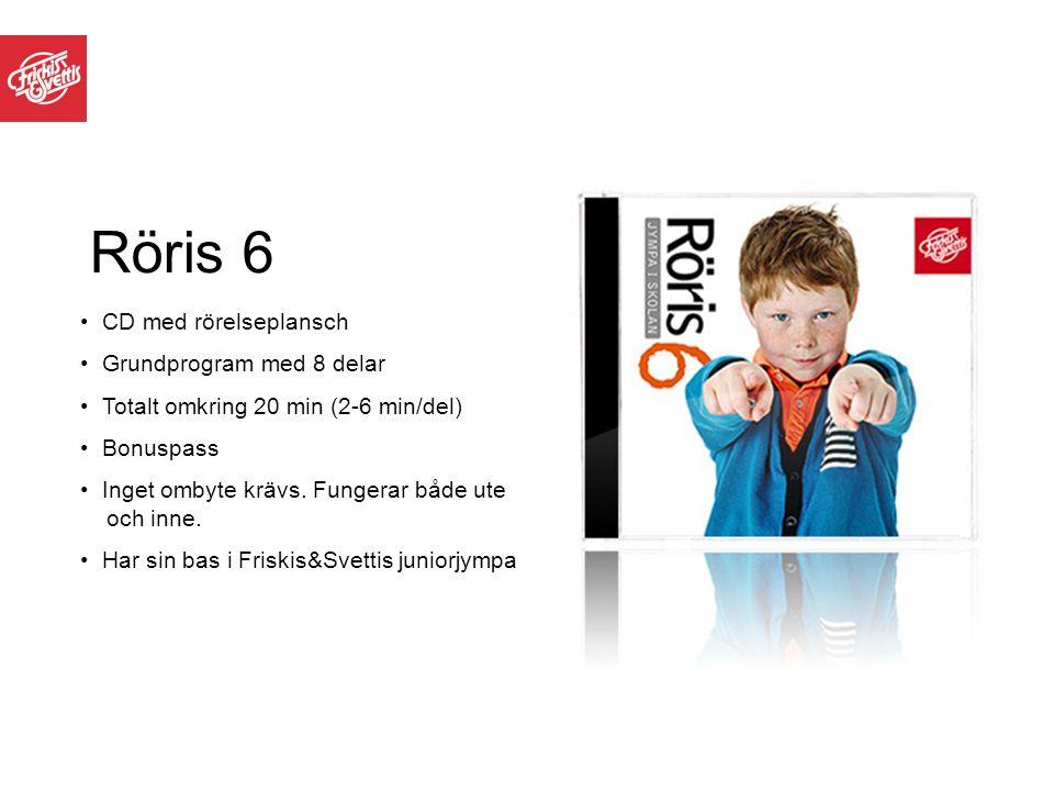 Röris 6 CD med rörelseplansch Grundprogram med 8 delar Totalt omkring 20 min (2-6 min/del) Bonuspass Inget ombyte krävs. Fungerar både ute och inne. H