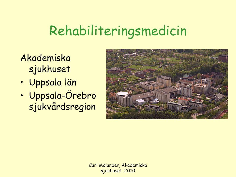 Carl Molander, Akademiska sjukhuset. 2010 Rehabiliteringsmedicin Akademiska sjukhuset Uppsala län Uppsala-Örebro sjukvårdsregion