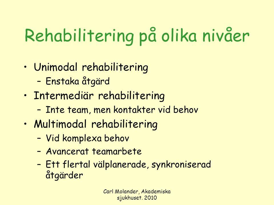 Carl Molander, Akademiska sjukhuset. 2010 Rehabilitering på olika nivåer Unimodal rehabilitering –Enstaka åtgärd Intermediär rehabilitering –Inte team