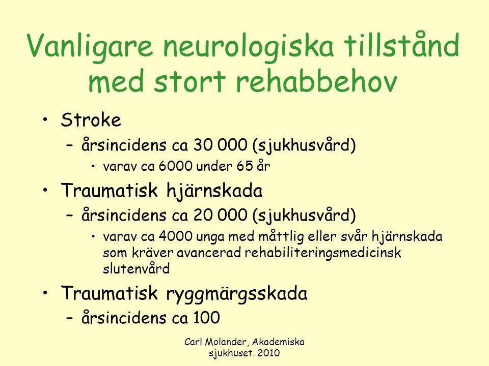 Carl Molander, Akademiska sjukhuset. 2010 Vanligare neurologiska tillstånd med stort rehabbehov Stroke –årsincidens ca 30 000 (sjukhusvård) varav ca 6
