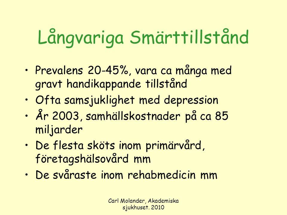 Carl Molander, Akademiska sjukhuset. 2010 Långvariga Smärttillstånd Prevalens 20-45%, vara ca många med gravt handikappande tillstånd Ofta samsjukligh