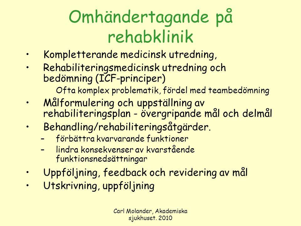 Carl Molander, Akademiska sjukhuset. 2010 Omhändertagande på rehabklinik Kompletterande medicinsk utredning, Rehabiliteringsmedicinsk utredning och be