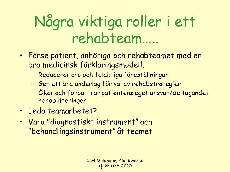 Carl Molander, Akademiska sjukhuset. 2010 Några viktiga roller i ett rehabteam….. Förse patient, anhöriga och rehabteamet med en bra medicinsk förklar