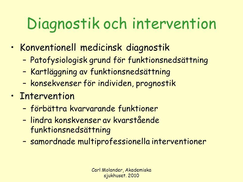 Carl Molander, Akademiska sjukhuset. 2010 Diagnostik och intervention Konventionell medicinsk diagnostik –Patofysiologisk grund för funktionsnedsättni