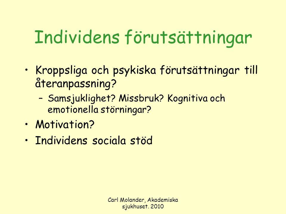 Carl Molander, Akademiska sjukhuset. 2010 Individens förutsättningar Kroppsliga och psykiska förutsättningar till återanpassning? –Samsjuklighet? Miss