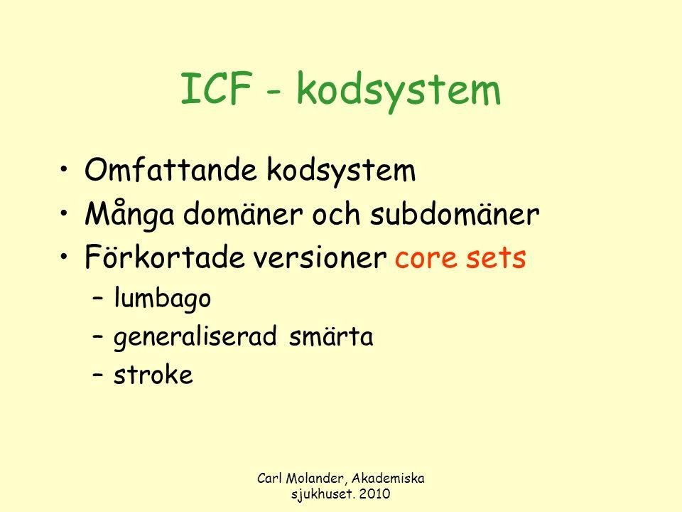 Carl Molander, Akademiska sjukhuset. 2010 ICF - kodsystem Omfattande kodsystem Många domäner och subdomäner Förkortade versioner core sets –lumbago –g