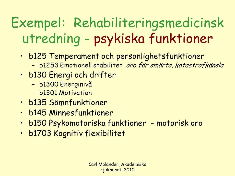 Carl Molander, Akademiska sjukhuset. 2010 Exempel: Rehabiliteringsmedicinsk utredning - psykiska funktioner b125 Temperament och personlighetsfunktion