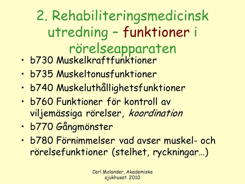 Carl Molander, Akademiska sjukhuset. 2010 2. Rehabiliteringsmedicinsk utredning – funktioner i rörelseapparaten b730 Muskelkraftfunktioner b735 Muskel