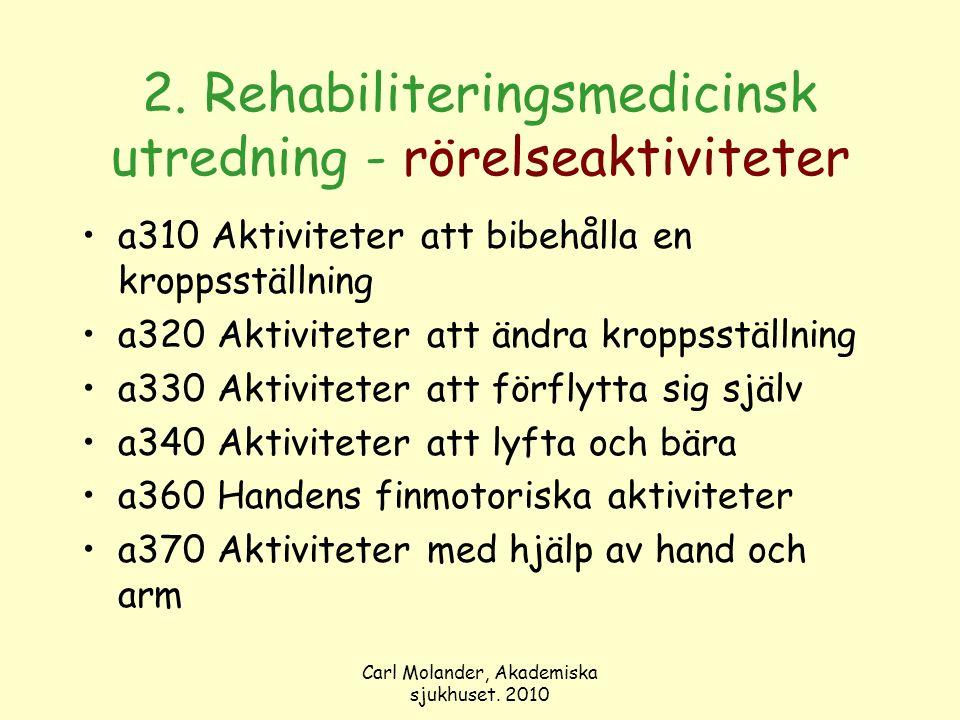 Carl Molander, Akademiska sjukhuset. 2010 2. Rehabiliteringsmedicinsk utredning - rörelseaktiviteter a310 Aktiviteter att bibehålla en kroppsställning
