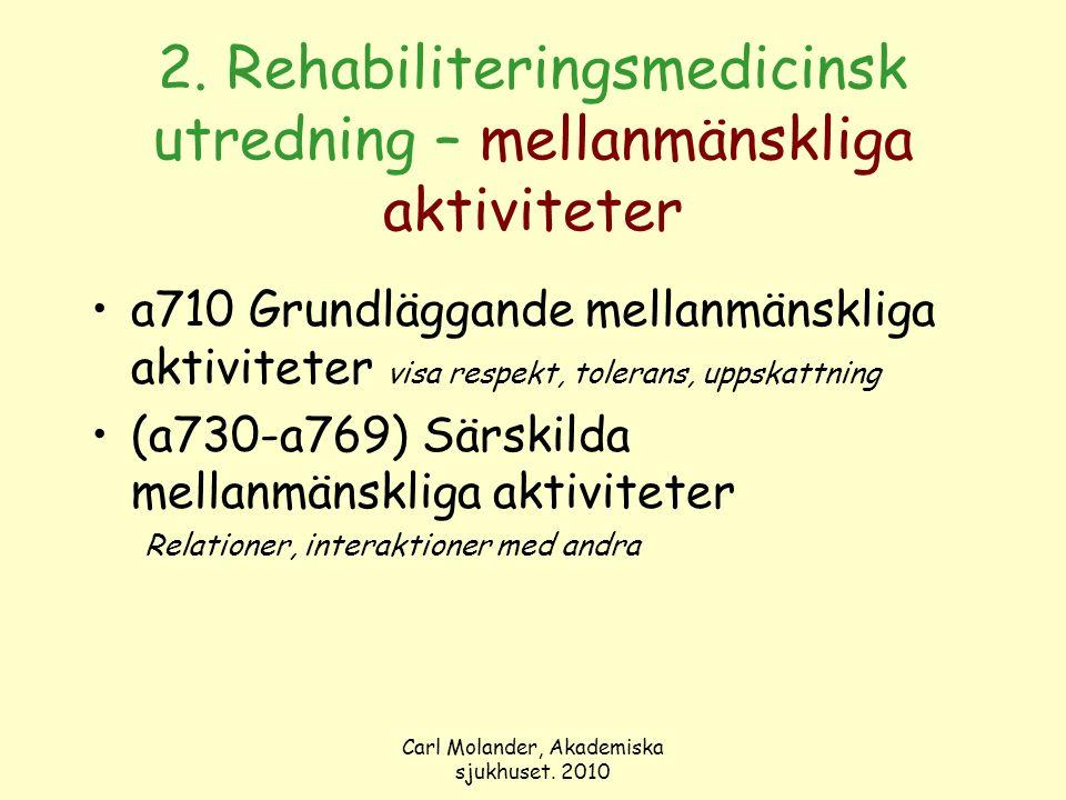 Carl Molander, Akademiska sjukhuset. 2010 2. Rehabiliteringsmedicinsk utredning – mellanmänskliga aktiviteter a710 Grundläggande mellanmänskliga aktiv