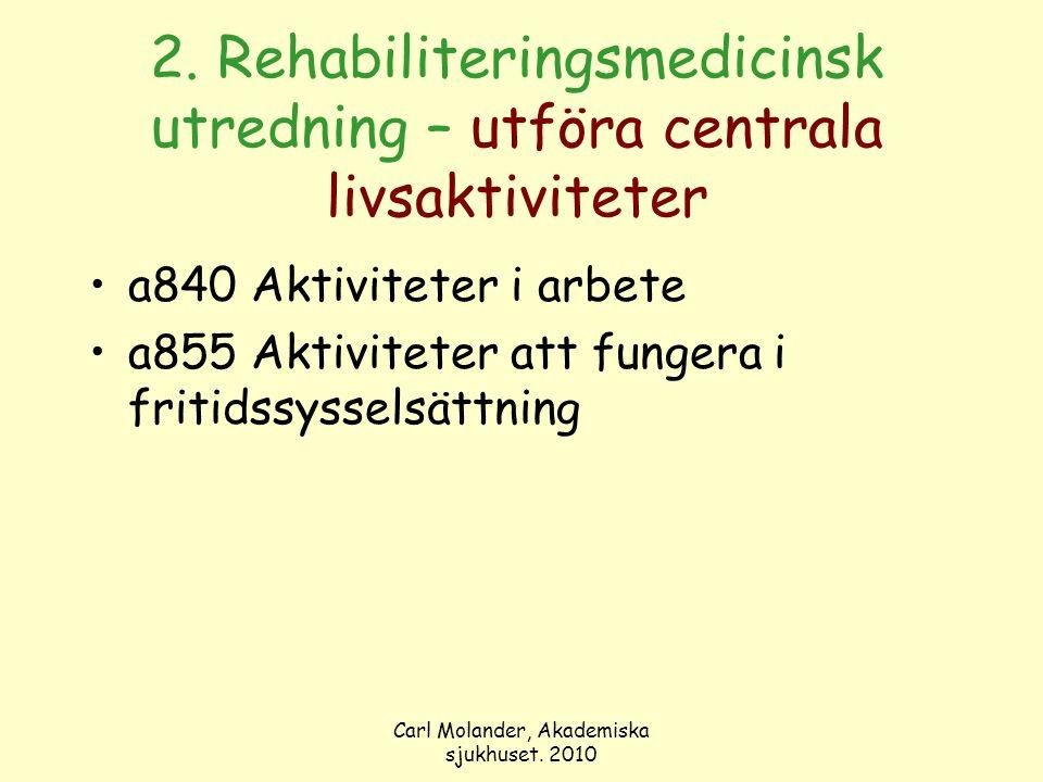 Carl Molander, Akademiska sjukhuset. 2010 2. Rehabiliteringsmedicinsk utredning – utföra centrala livsaktiviteter a840 Aktiviteter i arbete a855 Aktiv