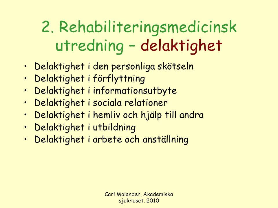 Carl Molander, Akademiska sjukhuset. 2010 2. Rehabiliteringsmedicinsk utredning – delaktighet Delaktighet i den personliga skötseln Delaktighet i förf