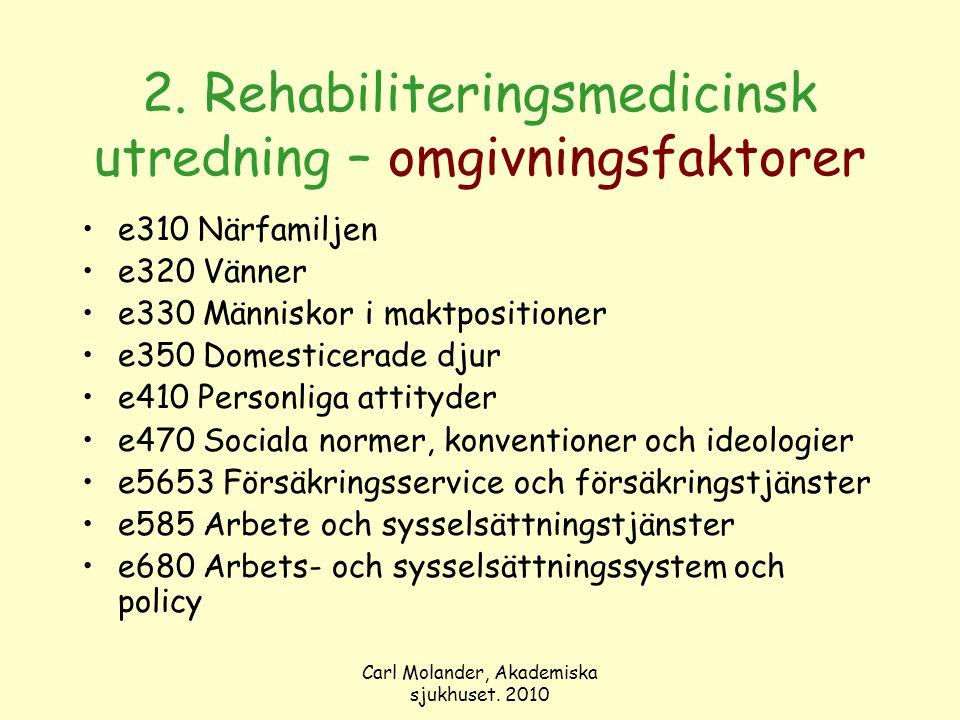 Carl Molander, Akademiska sjukhuset. 2010 2. Rehabiliteringsmedicinsk utredning – omgivningsfaktorer e310 Närfamiljen e320 Vänner e330 Människor i mak