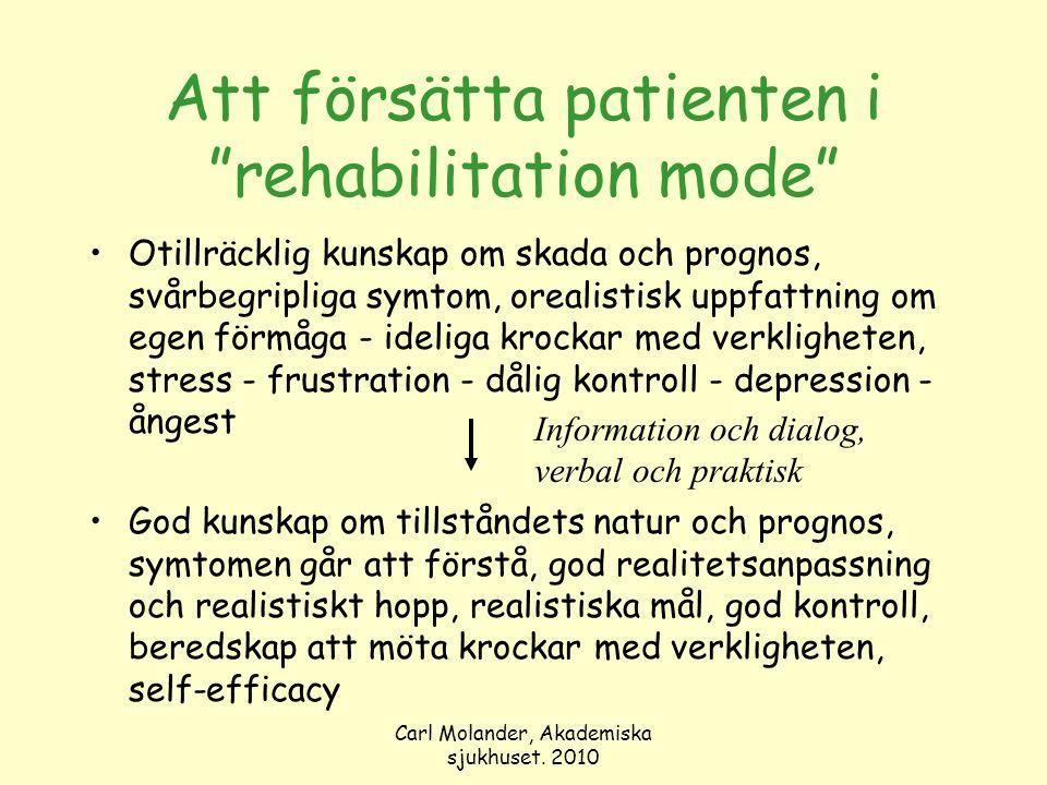 """Carl Molander, Akademiska sjukhuset. 2010 Att försätta patienten i """"rehabilitation mode"""" Otillräcklig kunskap om skada och prognos, svårbegripliga sym"""