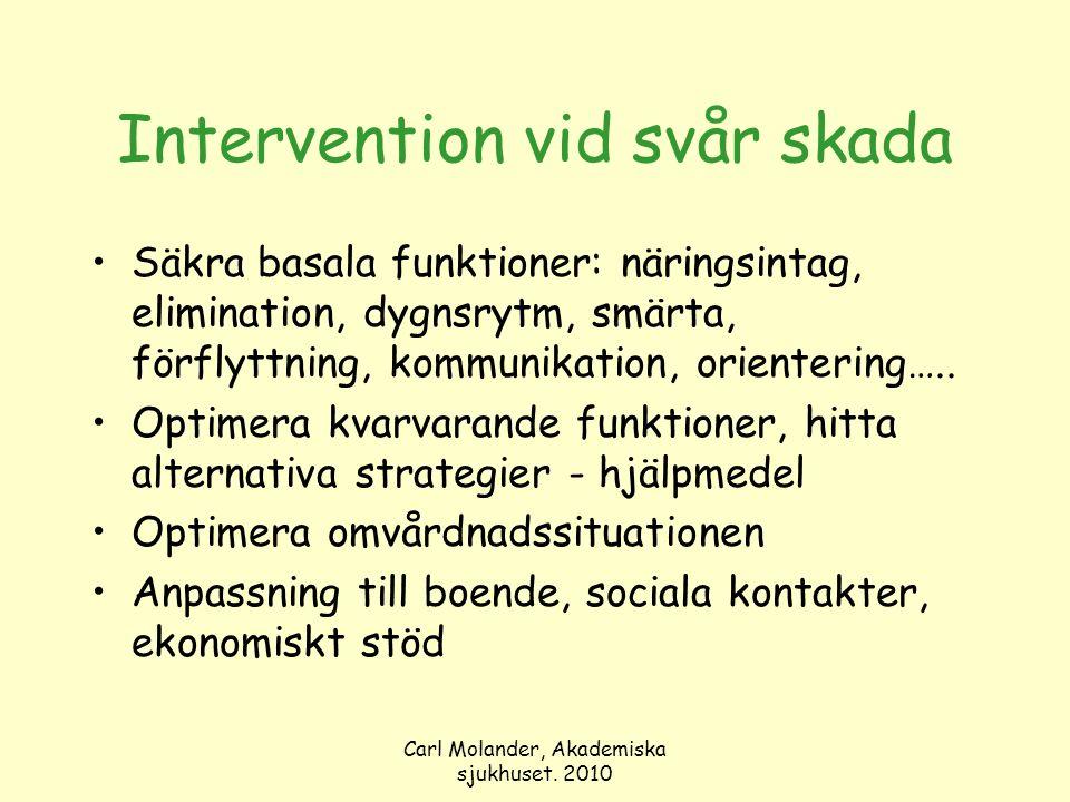 Carl Molander, Akademiska sjukhuset. 2010 Intervention vid svår skada Säkra basala funktioner: näringsintag, elimination, dygnsrytm, smärta, förflyttn