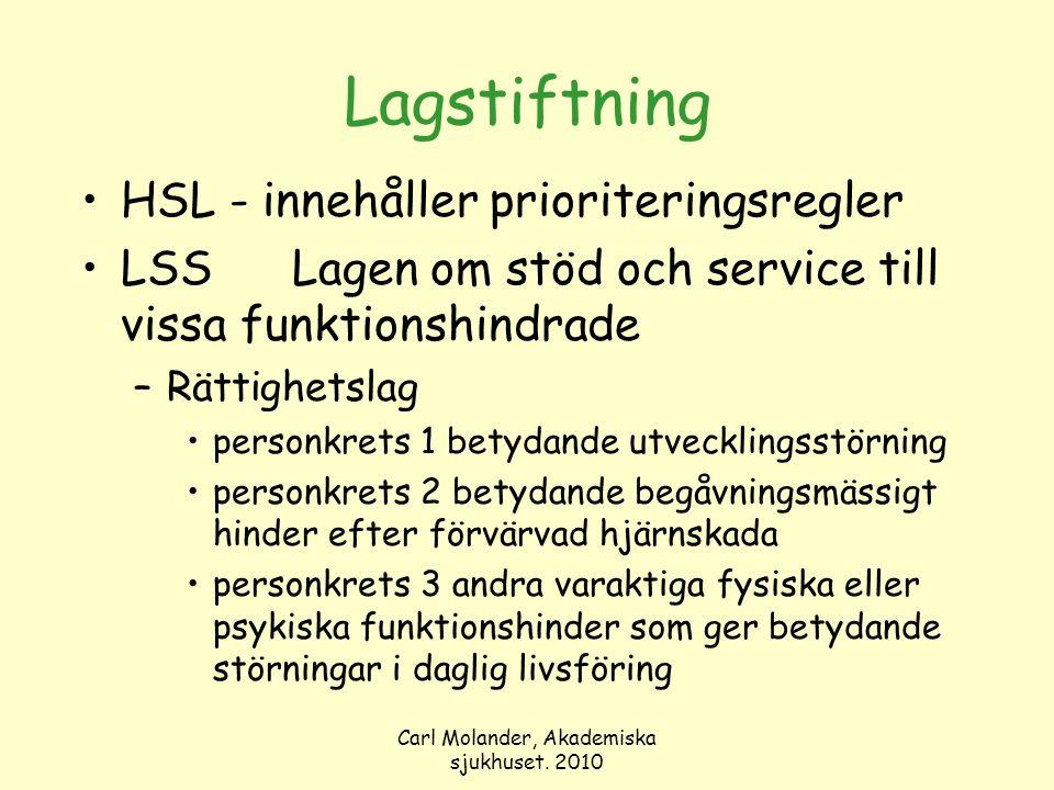 Carl Molander, Akademiska sjukhuset. 2010 Lagstiftning HSL - innehåller prioriteringsregler LSSLagen om stöd och service till vissa funktionshindrade