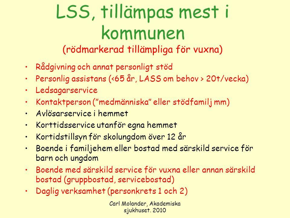 Carl Molander, Akademiska sjukhuset. 2010 LSS, tillämpas mest i kommunen (rödmarkerad tillämpliga för vuxna) Rådgivning och annat personligt stöd Pers