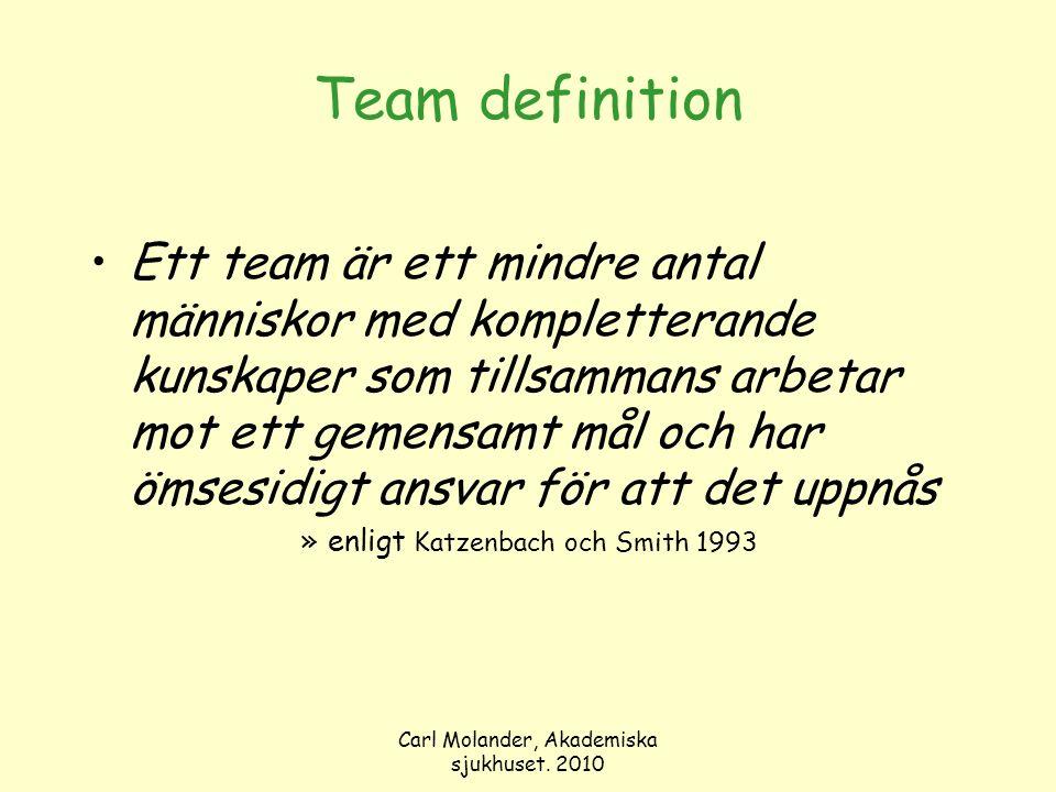 Team definition Ett team är ett mindre antal människor med kompletterande kunskaper som tillsammans arbetar mot ett gemensamt mål och har ömsesidigt a