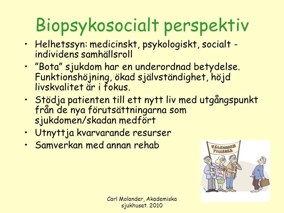 """Carl Molander, Akademiska sjukhuset. 2010 Biopsykosocialt perspektiv Helhetssyn: medicinskt, psykologiskt, socialt - individens samhällsroll """"Bota"""" sj"""