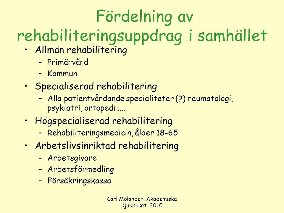 Carl Molander, Akademiska sjukhuset. 2010 Fördelning av rehabiliteringsuppdrag i samhället Allmän rehabilitering –Primärvård –Kommun Specialiserad reh