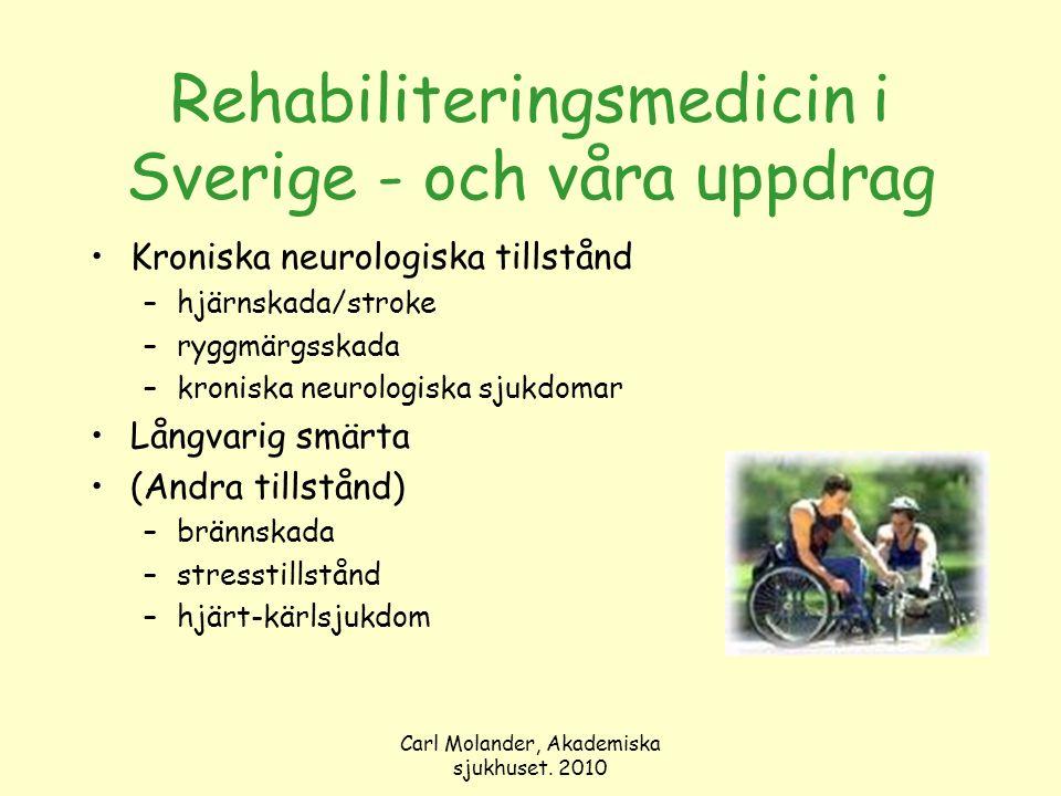Carl Molander, Akademiska sjukhuset. 2010 Rehabiliteringsmedicin i Sverige - och våra uppdrag Kroniska neurologiska tillstånd –hjärnskada/stroke –rygg