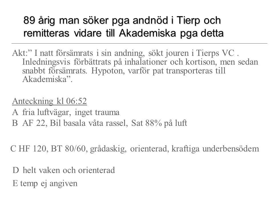 89 årig man söker pga andnöd i Tierp och remitteras vidare till Akademiska pga detta Akt: I natt försämrats i sin andning, sökt jouren i Tierps VC.