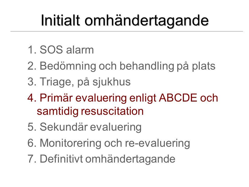 Initialt omhändertagande 1. SOS alarm 2. Bedömning och behandling på plats 3.