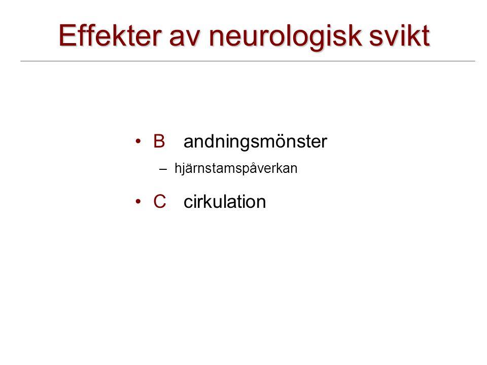Effekter av neurologisk svikt B andningsmönster –hjärnstamspåverkan Ccirkulation