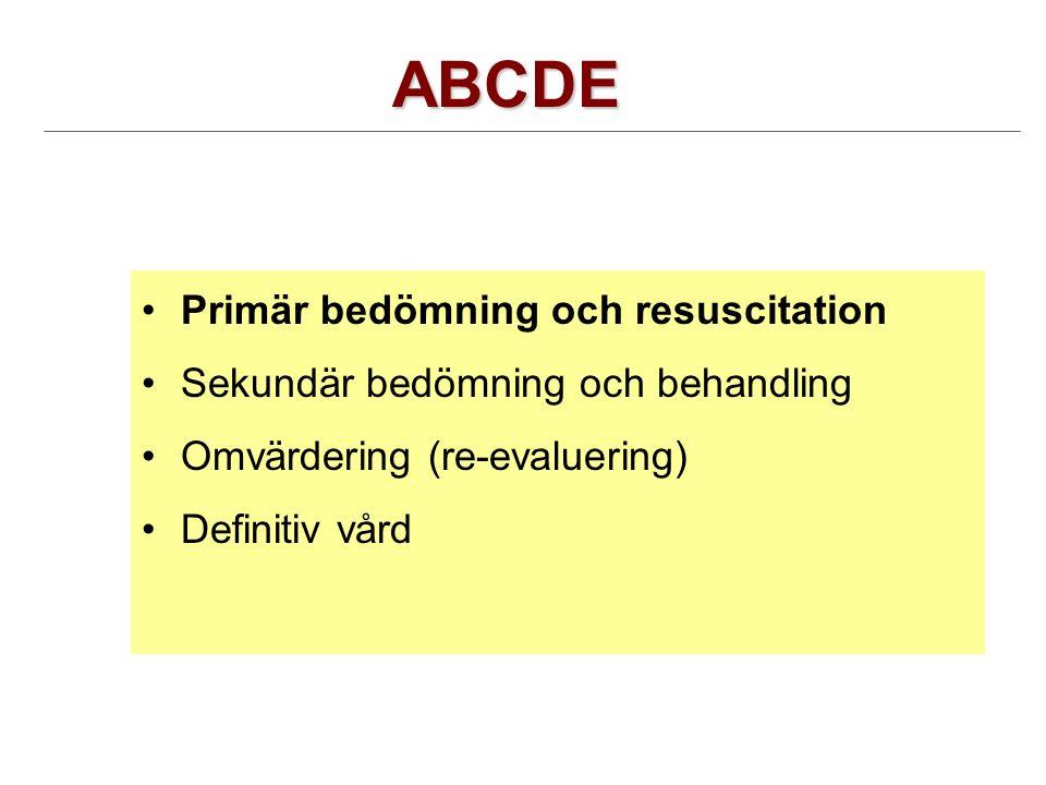 ABCDE Primär bedömning och resuscitation Sekundär bedömning och behandling Omvärdering (re-evaluering) Definitiv vård