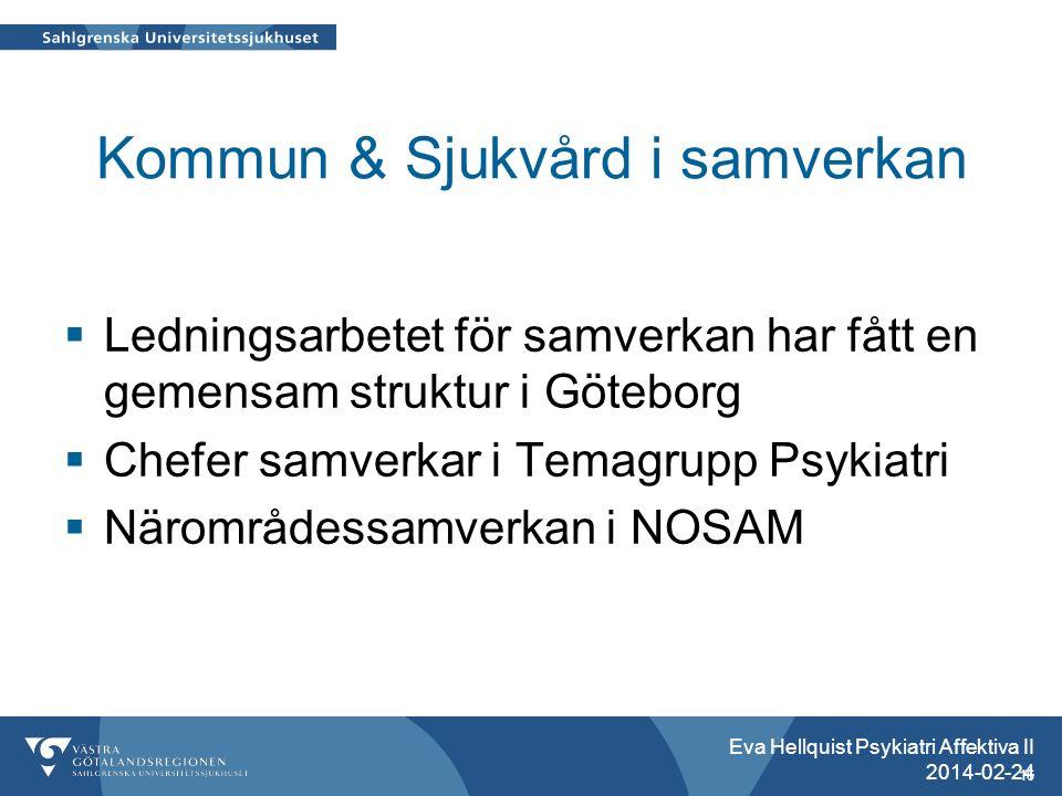 Kommun & Sjukvård i samverkan  Ledningsarbetet för samverkan har fått en gemensam struktur i Göteborg  Chefer samverkar i Temagrupp Psykiatri  Närområdessamverkan i NOSAM Eva Hellquist Psykiatri Affektiva II 2014-02-24 16
