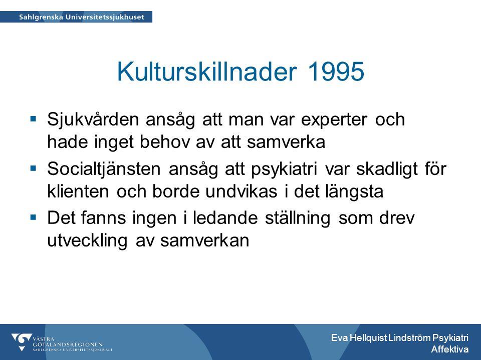 Kulturskillnader 1995  Sjukvården ansåg att man var experter och hade inget behov av att samverka  Socialtjänsten ansåg att psykiatri var skadligt för klienten och borde undvikas i det längsta  Det fanns ingen i ledande ställning som drev utveckling av samverkan Eva Hellquist Lindström Psykiatri Affektiva
