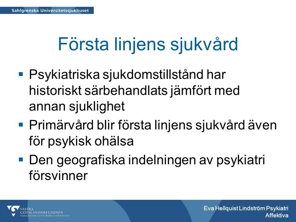 Första linjens sjukvård  Psykiatriska sjukdomstillstånd har historiskt särbehandlats jämfört med annan sjuklighet  Primärvård blir första linjens sjukvård även för psykisk ohälsa  Den geografiska indelningen av psykiatri försvinner Eva Hellquist Lindström Psykiatri Affektiva