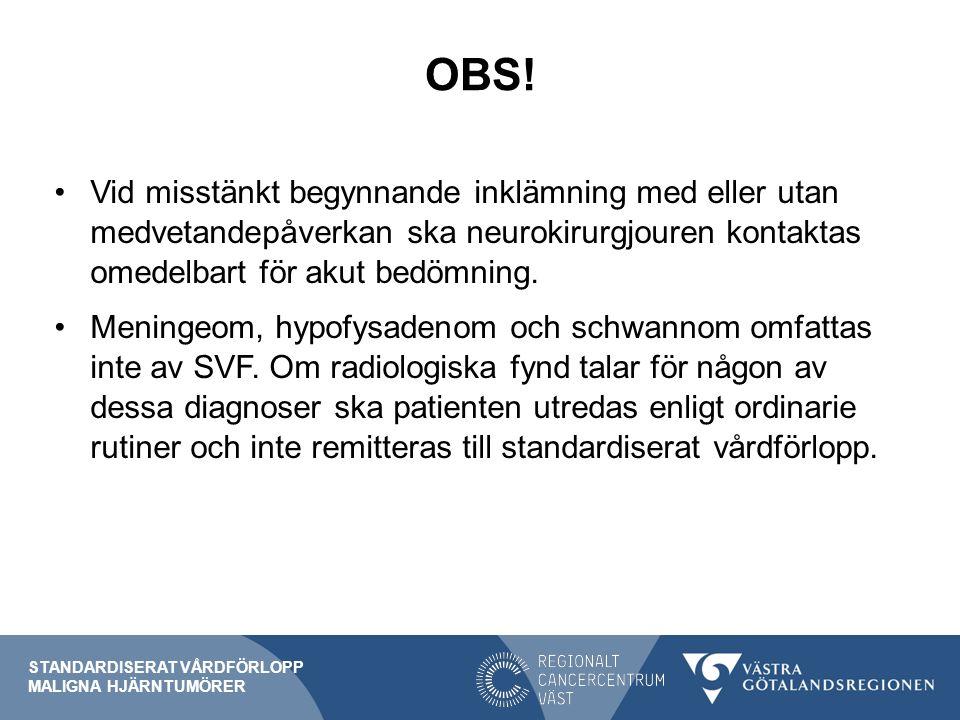 OBS! Vid misstänkt begynnande inklämning med eller utan medvetandepåverkan ska neurokirurgjouren kontaktas omedelbart för akut bedömning. Meningeom, h