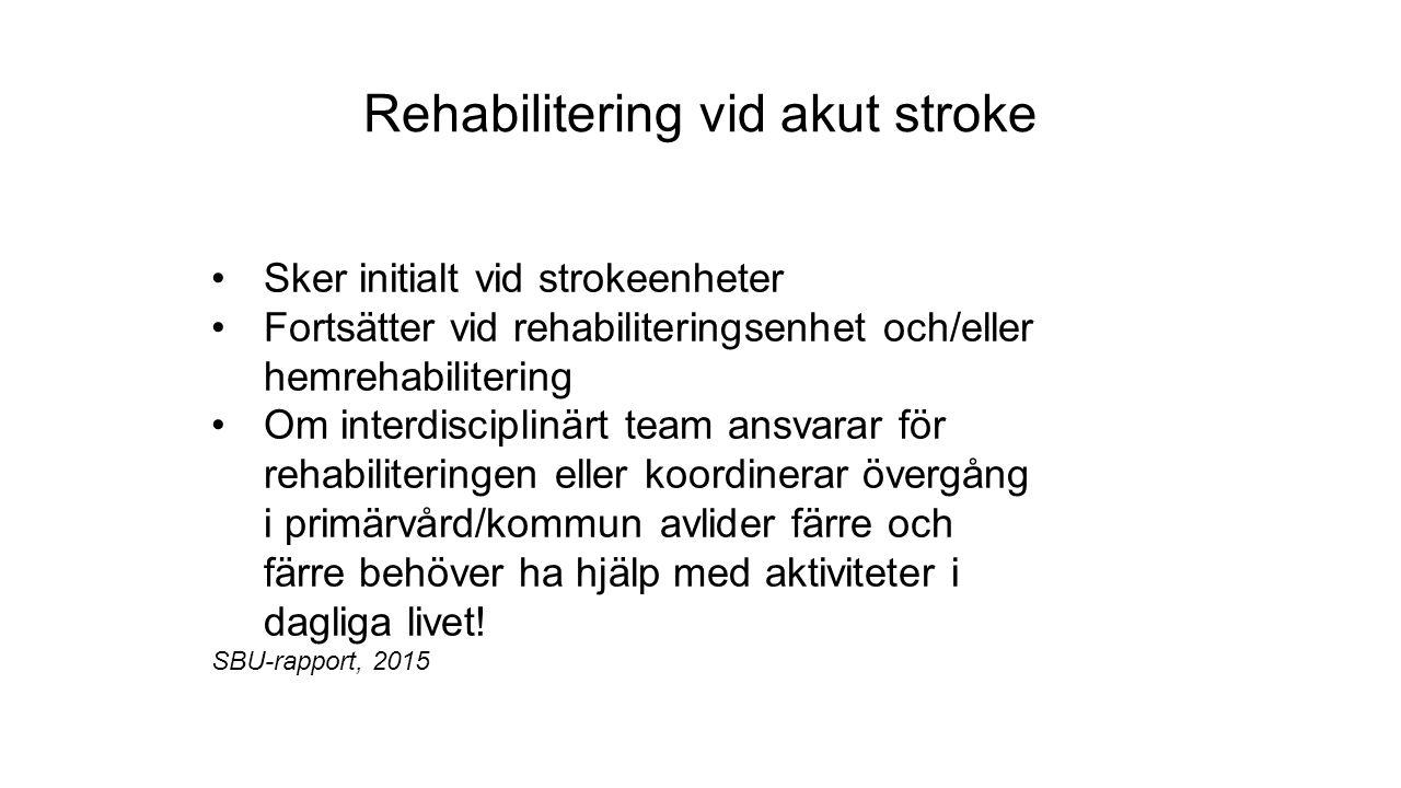 Rehabilitering vid akut stroke Sker initialt vid strokeenheter Fortsätter vid rehabiliteringsenhet och/eller hemrehabilitering Om interdisciplinärt team ansvarar för rehabiliteringen eller koordinerar övergång i primärvård/kommun avlider färre och färre behöver ha hjälp med aktiviteter i dagliga livet.