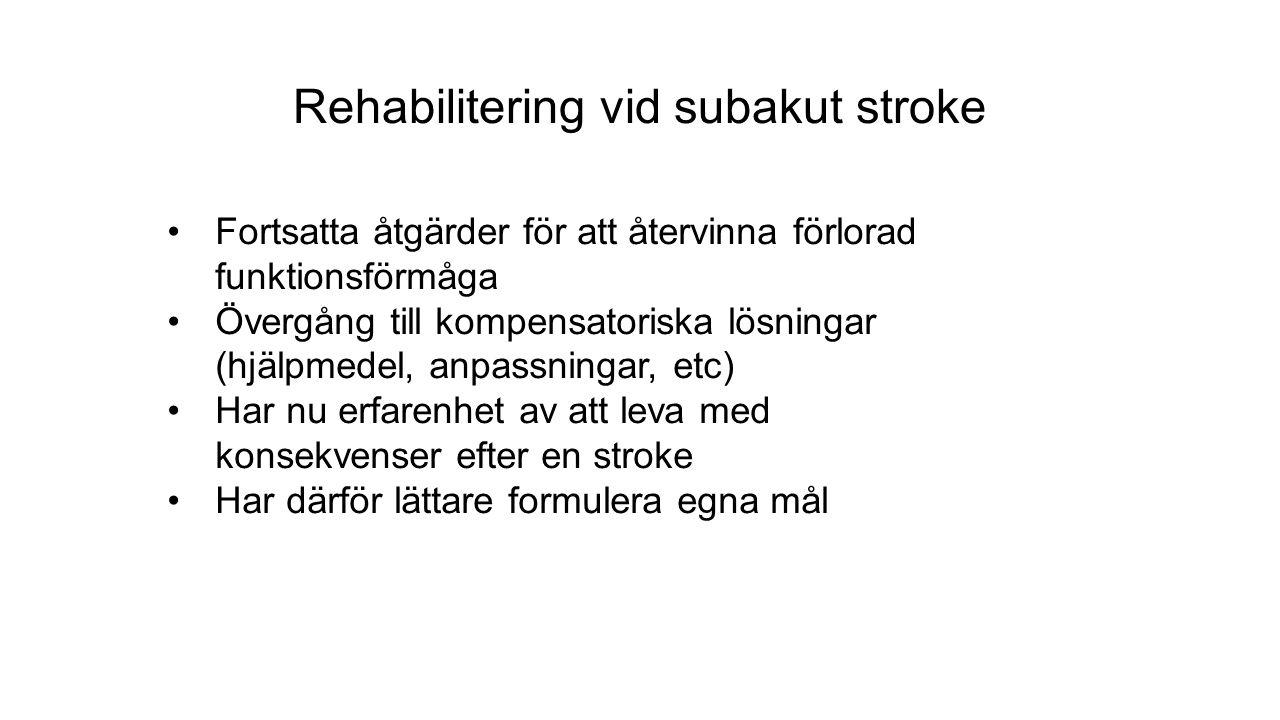 Rehabilitering vid subakut stroke Fortsatta åtgärder för att återvinna förlorad funktionsförmåga Övergång till kompensatoriska lösningar (hjälpmedel, anpassningar, etc) Har nu erfarenhet av att leva med konsekvenser efter en stroke Har därför lättare formulera egna mål