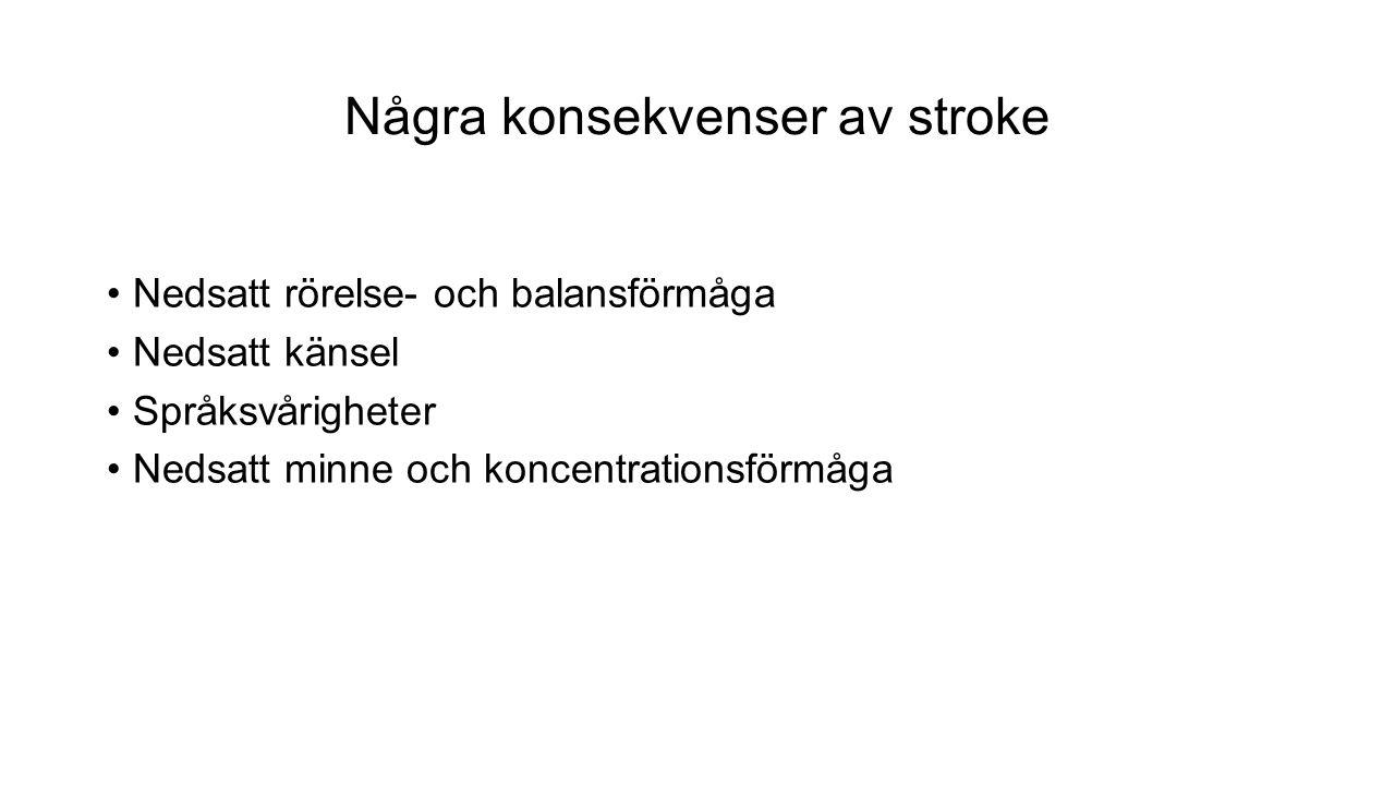 Några konsekvenser av stroke Nedsatt rörelse- och balansförmåga Nedsatt känsel Språksvårigheter Nedsatt minne och koncentrationsförmåga