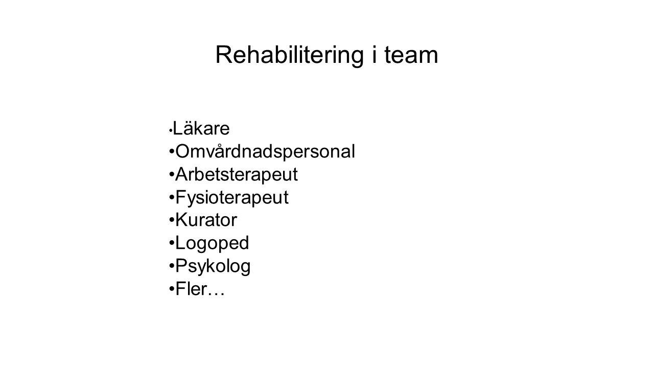 Rehabilitering i team Läkare Omvårdnadspersonal Arbetsterapeut Fysioterapeut Kurator Logoped Psykolog Fler…