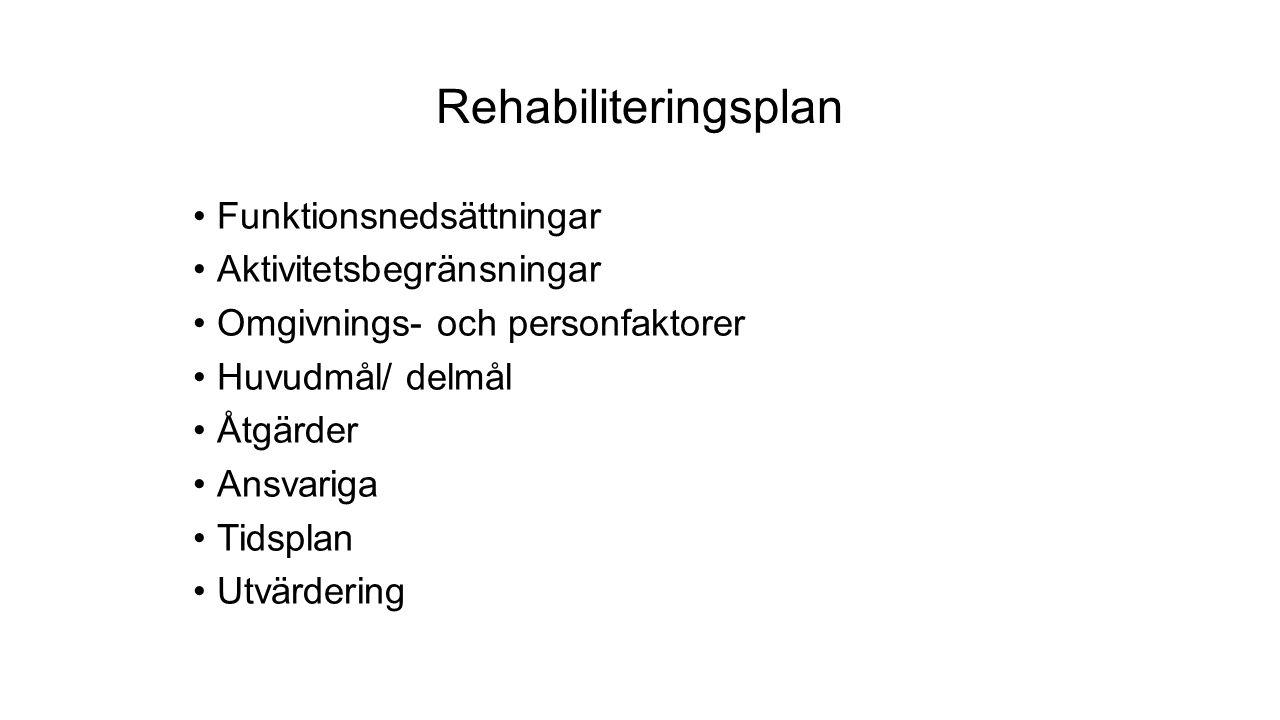 Rehabiliteringsplan Funktionsnedsättningar Aktivitetsbegränsningar Omgivnings- och personfaktorer Huvudmål/ delmål Åtgärder Ansvariga Tidsplan Utvärdering