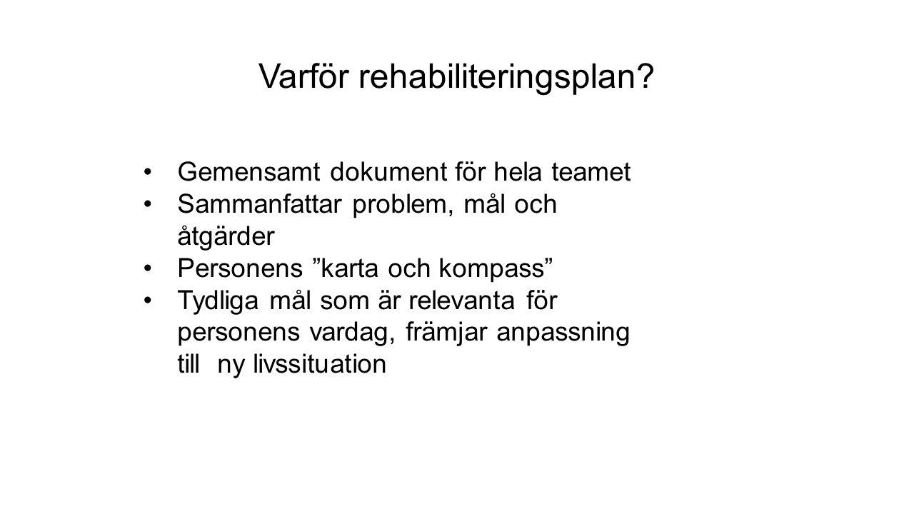 Varför rehabiliteringsplan.