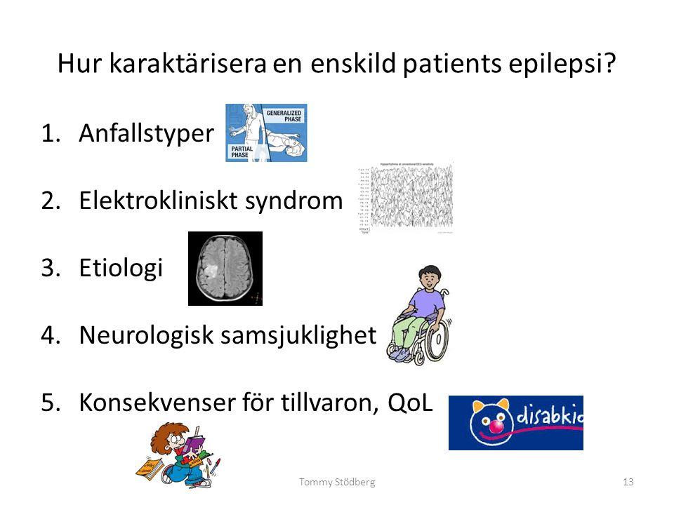Hur karaktärisera en enskild patients epilepsi? 1.Anfallstyper 2.Elektrokliniskt syndrom 3.Etiologi 4.Neurologisk samsjuklighet 5.Konsekvenser för til